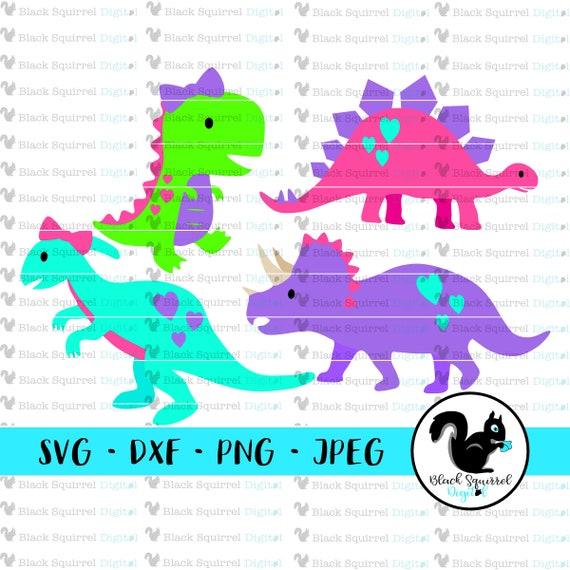 Girl Dinosaur Svg Bundle Pink T Rex Steg Bront Bows And Dinos Etsy