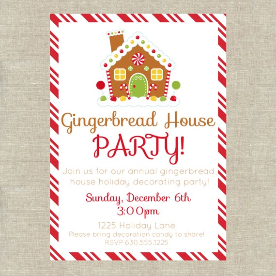 Gingerbread House Party Invitation Digital File Etsy