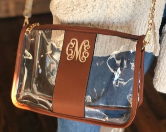 4cfaae141ded Clear Purse with Monogram - Personalized Stadium Purse and Faux Leather - Gameday  Purse - Gifts for Her