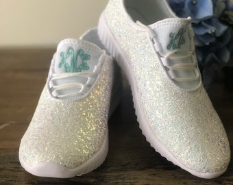 03d9fcfd2 White Glitter Shoes with Monogram for the Bride - Glittery Bridal Shoes -  Monogram Sneakers