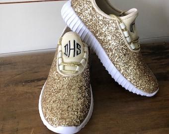 womens gold glitter tennis shoes