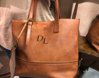 Monogram Rustic Tote - Personalized Handbag with Removable Pouch - Gifts  for Her - Tote Bag for Women 324dbe1b1550e