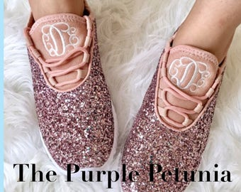Glitter Bomb Sneakers - Monogram or Personalized Womens Pink Glitter Tennis  Shoes - Bridal Party Shoes Monogrammed f348e6449