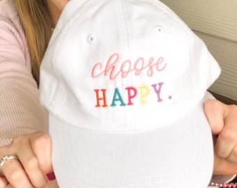 Choose Happy Hat Law of Attraction Motivational Hat Personal Growth Cap Inspiration Cap Positive Baseball Cap