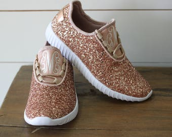 ac8c611c03b3 Glitter Bomb Sneakers   Glitter Kicks   Personalized Womens shoes   Rose  Gold Tennis Shoes   Glitter Shoes Monogrammed   Glitter Tennis Shoe