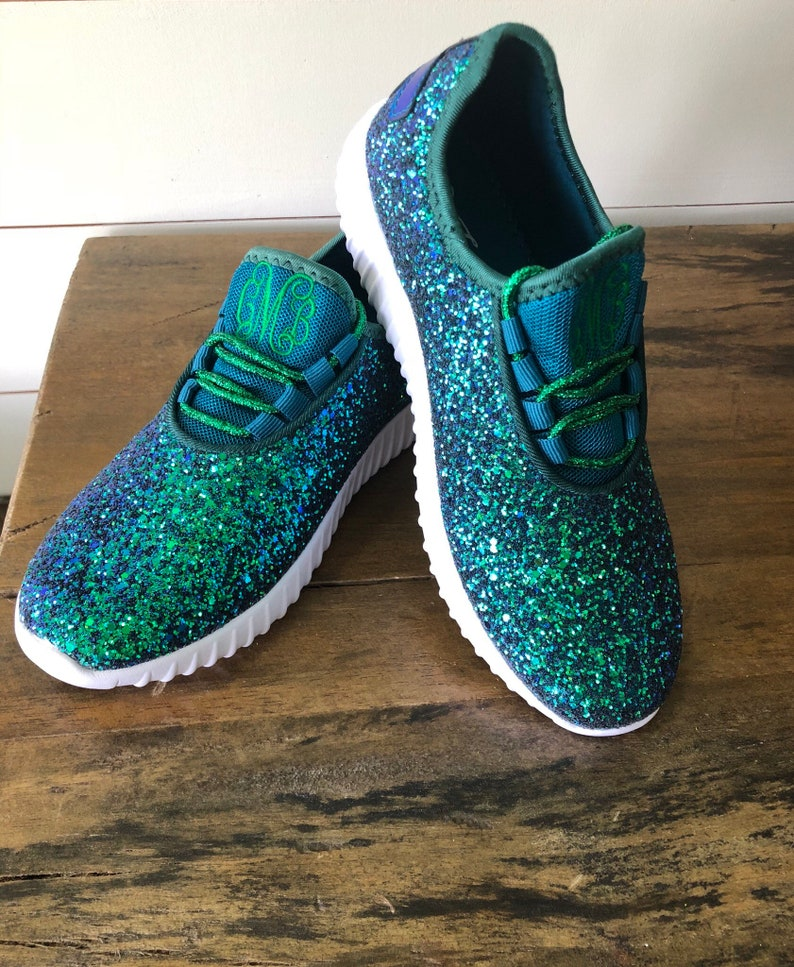 8bb813245a478 Mermaid Shoes / Glitter Kicks / Personalized Womens shoes / Mermaid Green  Tennis Shoes / Glitter Shoes Monogrammed / Glitter Sneakers
