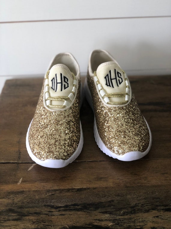 Monogram Glitter Shoes For Women Gold Glitter Tennis Shoe For The Bride Or Bridesmaids Gifts For Her