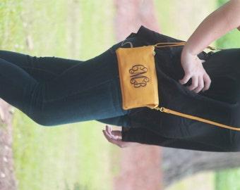 Monogrammed  Cross body Bag Clutch  Purse Wristlet Bridesmaid Personalized