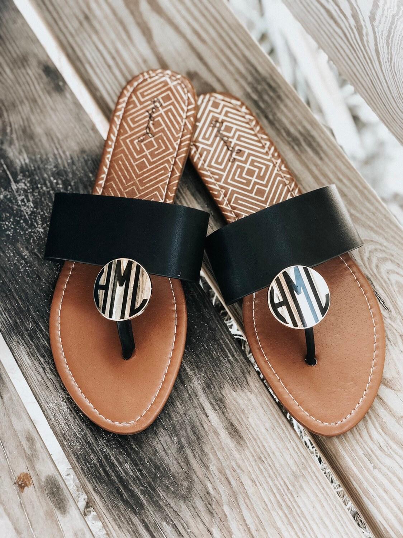 2d4fcc31db5f3 Monogrammed Sandals Women s Black Leather Fashion Sandal