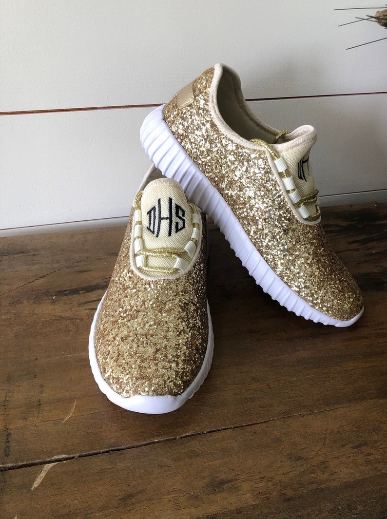 b7c8e7522942c Monogram Glitter Shoes for Women - Gold Glitter Tennis Shoe for the Bride  or Bridesmaids - Gifts for Her