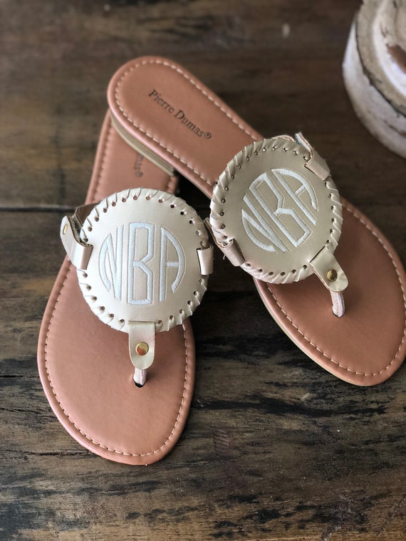 bc0361ae5f3a6 Monogram Disk Sandals   Personalized Womens shoes   Medallion