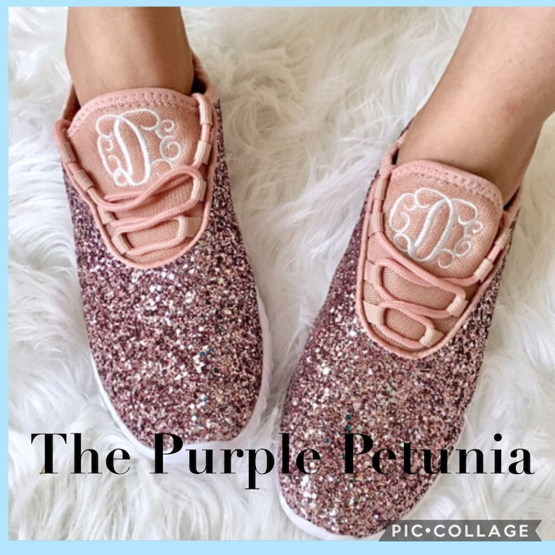375cf1f5113ee Glitter Bomb Sneakers - Monogram or Personalized Womens Pink Glitter Tennis  Shoes - Bridal Party Shoes Monogrammed