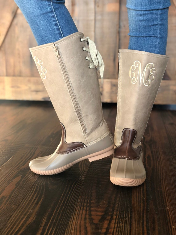 7f45f6266ef5c Lace Up Taupe Duck Boots With Monogram Women s Monogram