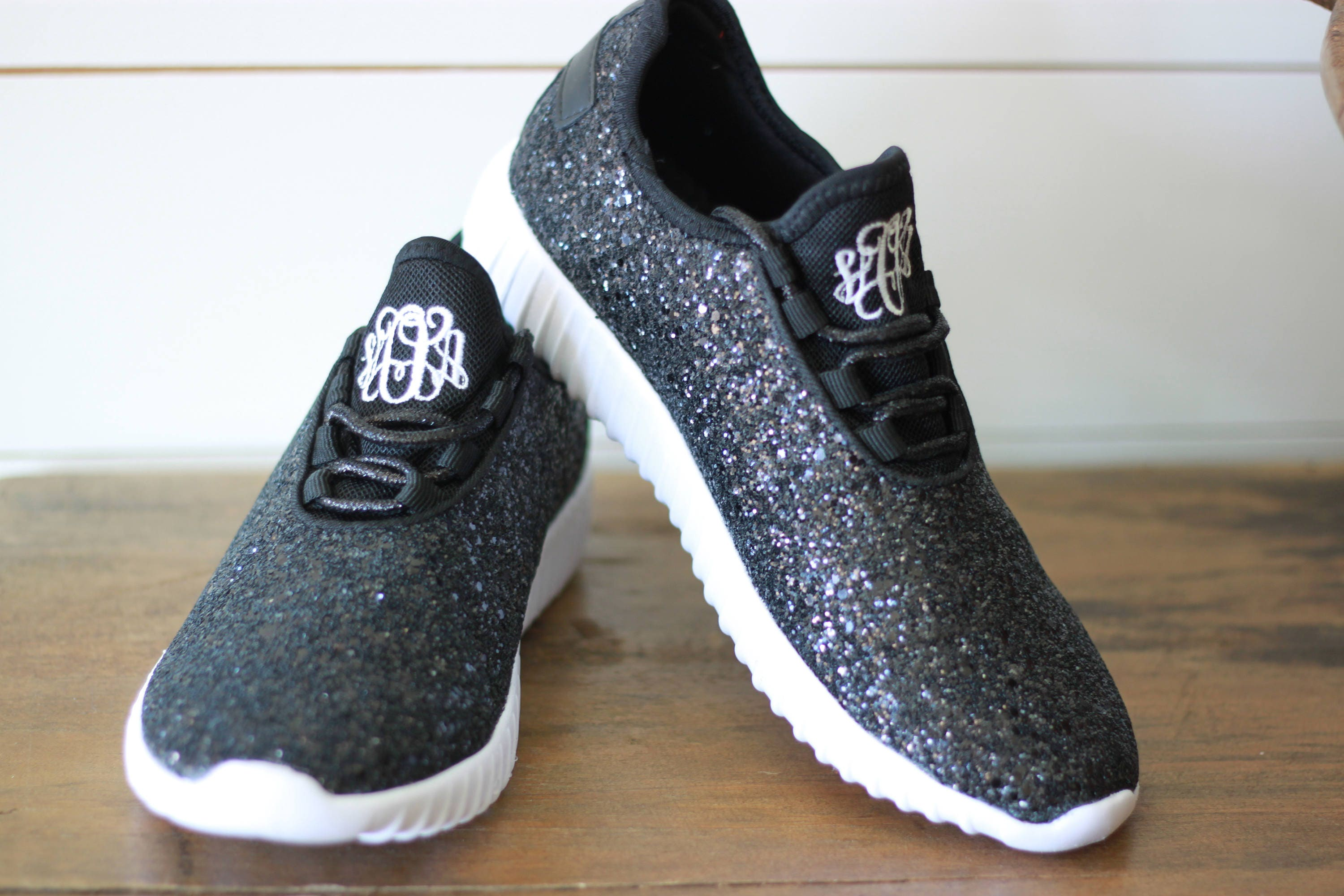 3cfc72a9d5271 Glitter Bomb Sneakers / Glitter Kicks / Personalized Womens shoes / Black  Tennis Shoes / Glitter Shoes Monogrammed / Glitter Tennis Shoe