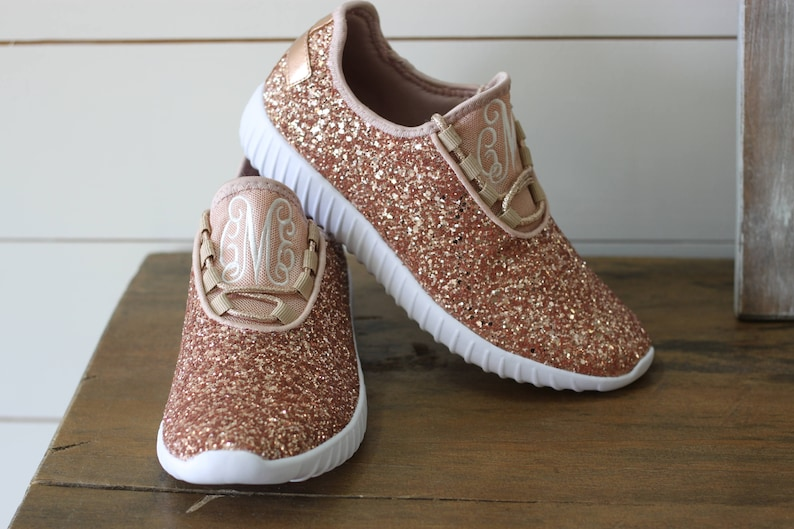 85e27b8cab99c Glitter Bomb Sneakers / Glitter Kicks / Personalized Womens shoes / Rose  Gold Tennis Shoes / Glitter Shoes Monogrammed / Glitter Tennis Shoe