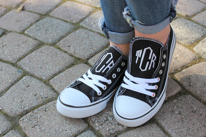 63363c5debb90 Monogram Sneakers - Personalized Womens Shoes - Ladies Canvas Tennis Shoes  Monogrammed - Low Top Sneakers