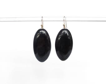 Statement earrings boho jewelry black earrings hand carved natural black horn earring with 14k solid gold