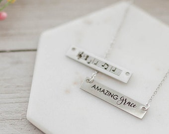 d9f177b5990490 REVERSIBLE Amazing Grace SILVER Bar Necklace - Faith Necklace, Musical  Notes, Christian Jewelry, 18 inch, Hymn Necklace, Music Bar Necklace