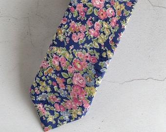 Floral Liberty print tie - Tatum floral tie - floral wedding tie - blue tie - pink tie