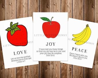 Fruit of the Spirit, Scripture Cards, Bible Verses, Scripture Memory,Bible Memory, Instant Download, Digital Printable