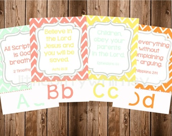 ABC Scripture Cards in Mint, Coral, Gray