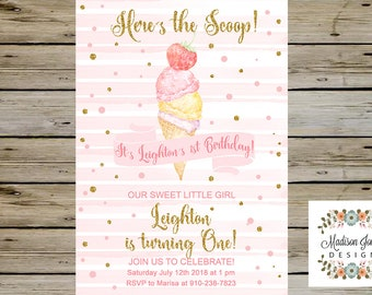 ebe14a72f70 GIRL Ice Cream BIRTHDAY Invitation