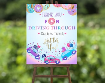 DONUTS and Cars Drive-By BIRTHDAY Welcome SIGN Drive Through Birthday Parade. Drive Thru Donut Grow Up Welcome Sign Digital Printable