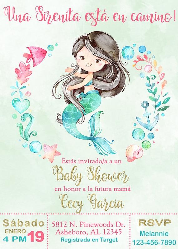 Es Niña Sirena Baby Shower Invitacion Girl Mermaid Baby Shower Invitation Digital Printable Sirenita Baby Shower Español Spanish
