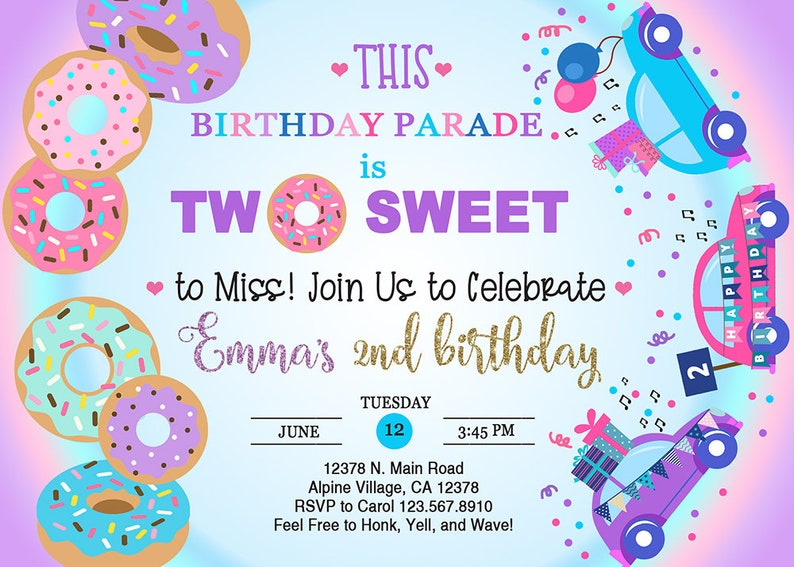 drive by through thru quarantine birthday girl donuts birthday parade invite two sweet 2nd birthday. DONUT BIRTHDAY PARADE invitation