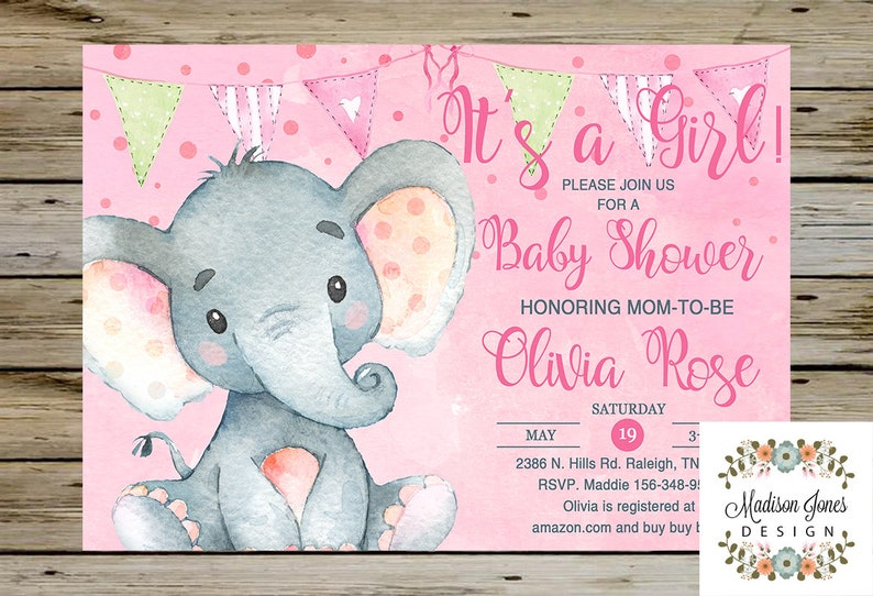 Baby ÉléphantPersonnalisé Aquarelle Fille Digital Shower InvitationÉléphant Bébé Elephant InviterDe Imprimable Girl lKFJc1
