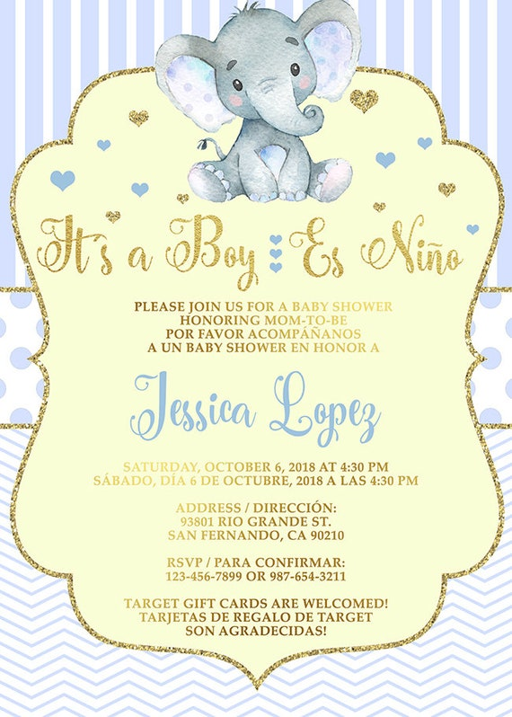 Es Niño Invitación De Baby Shower En Ingles Y Español Boy Elephant Baby Shower Invitation In English And Spanish Customized Printable