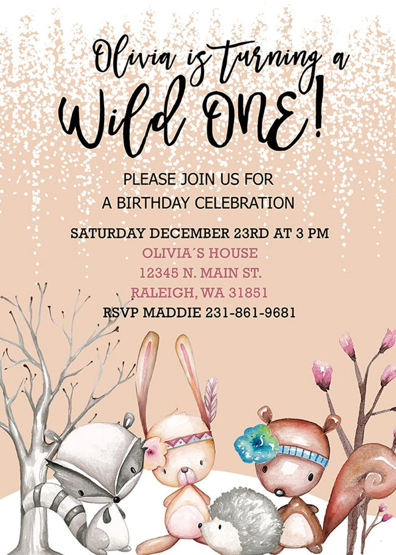 WOODLAND Boho Birthday INVITATION Tribal Boho Birthday Invite A Wild One Girl Birthday Invitation Winter Woodland Birthday Invitation
