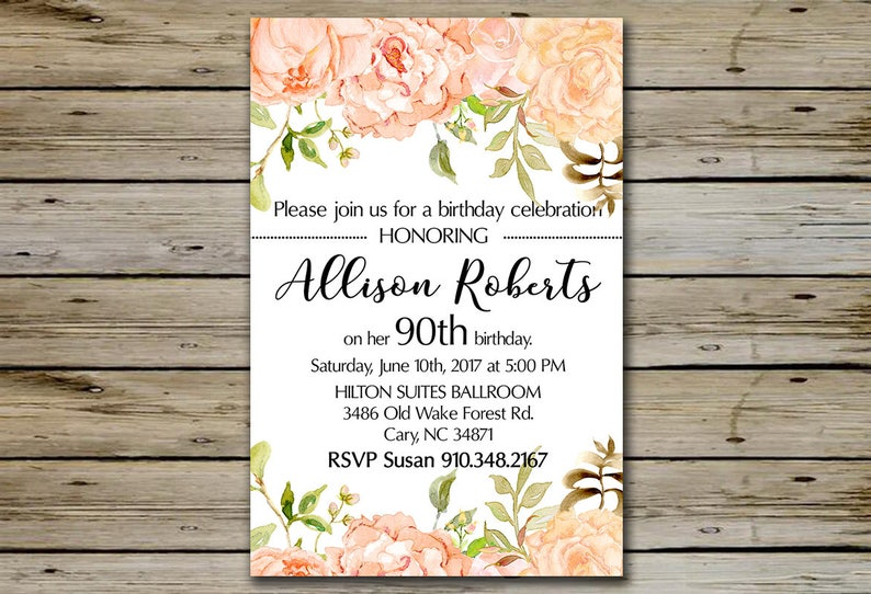 90th BIRTHDAY INVITATION Peach Watercolor Blossoms 90