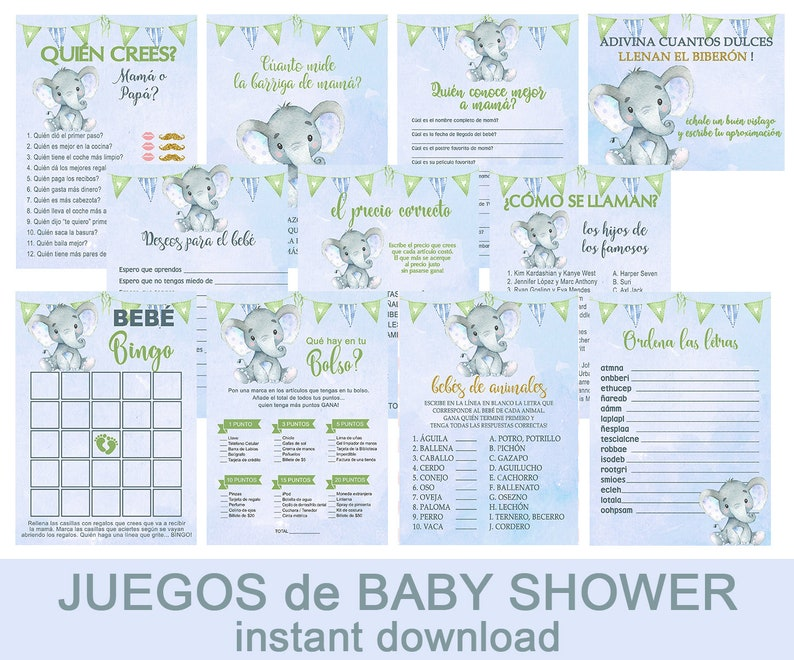 Nino Baby Shower Games Pack Set Kit De Juegos Espanol De Etsy