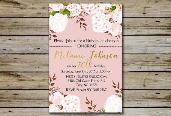 70th BIRTHDAY INVITATION Pink Watercolor Blossoms 70 Years