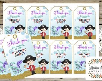 Pirates & Mermaids THANK YOU Tags, Mermaid and Pirate Birthday Thank You Tags, Girl Mermaid Birthday, Boy Pirate Birthday, Digital Printable