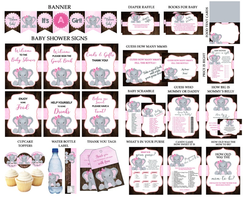 21 instant download items BEST ELEPHANT Baby Shower PACKAGE on Etsy Best Price! Baby Shower favors and games