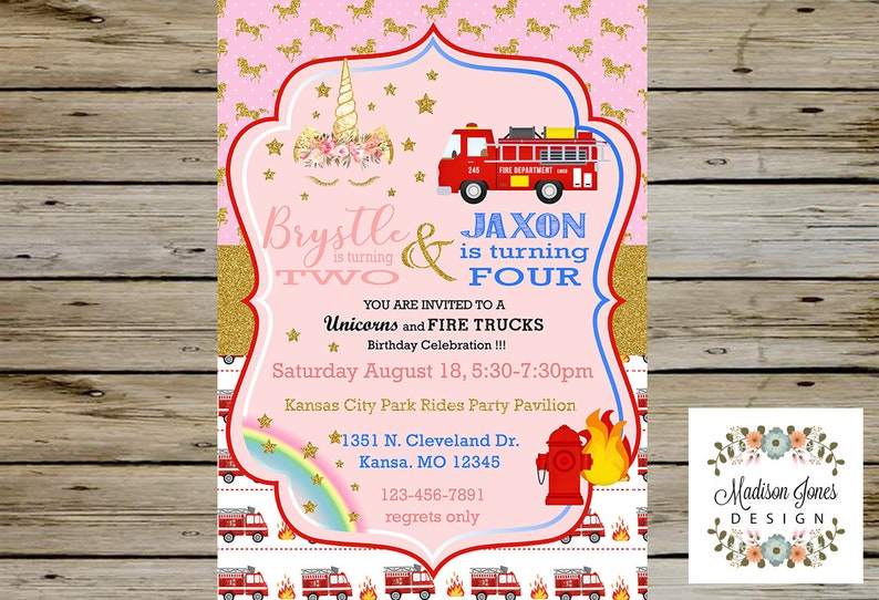 Firetrucks And Unicorn BIRTHDAY Party INVITATION For SIBLINGS