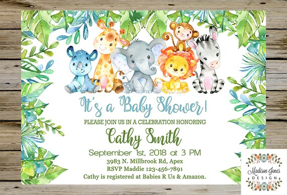 Baby Shower Safari Nino Decoracion.Blue Green Boy Safari Jungle Baby Shower Invitation Boy Baby Shower Invitation Digital Printable Safari Jungle Elephant Baby Shower