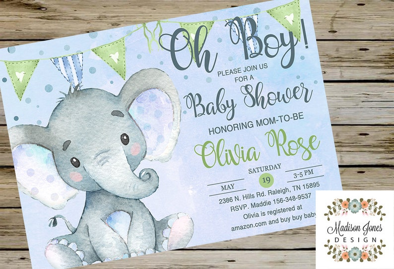 6bb87a217f56 ELEPHANT Boy BABY SHOWER Invitation Cute Watercolor Elephant
