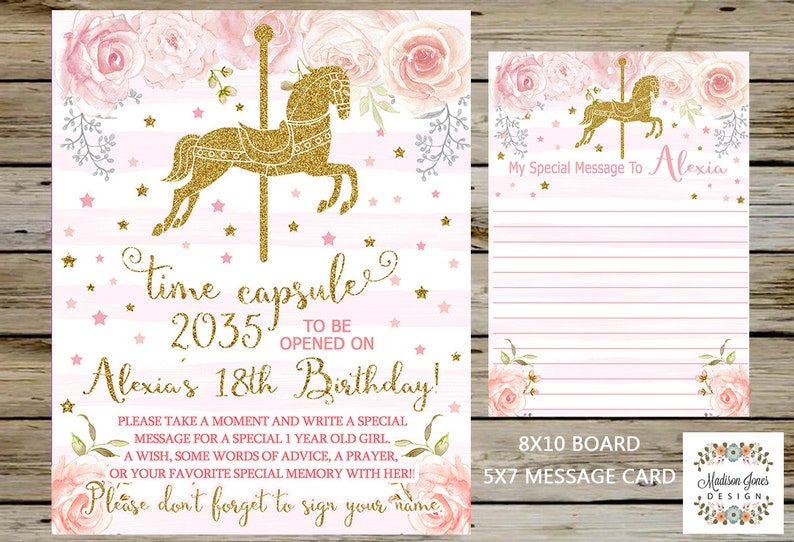 Time Capsule Chalkboard /& 5x7 Note Gold Carousel Time Capsule Carousel First BIRTHDAY TIME CAPSULE Board and Message Card