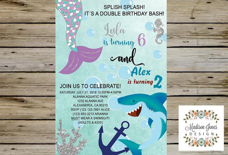 Mermaid PrintableMermaids Party Invitationamp; Siblings Shark Customized Digital Sharks Birthday CxQoderWB