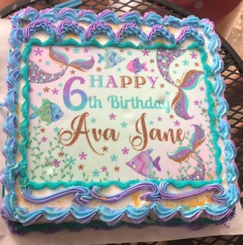 Mermaid Birthday 11x14 Girl Mermaid Cake Top Purple Lavender Turquoise Silver and Gold Glitter. 11x14 MERMAID BIRTHDAY Sign
