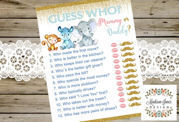 Guess Who Mommy Or Daddy Baby Shower Game Safari Theme Baby Etsy