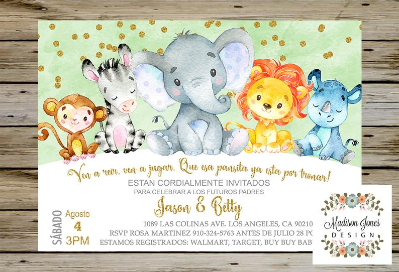 Jungle Baby Shower Invitation Spanish Espanol Safari Baby Etsy