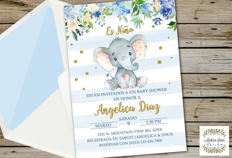Es Nino Invitacion De Baby Shower En Espanol Boy Elephant Etsy