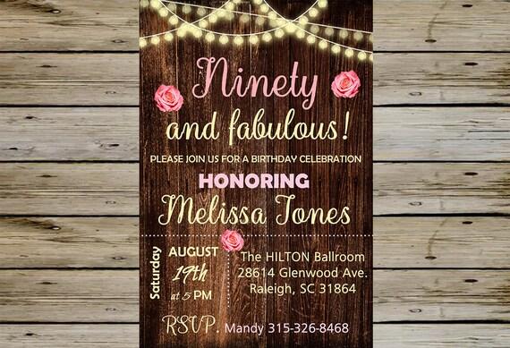 Wood 90th BIRTHDAY INVITATION Birthday Party Invitation