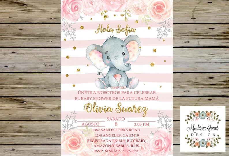 Es Nina Invitacion De Baby Shower En Espanol Girl Elephant Etsy