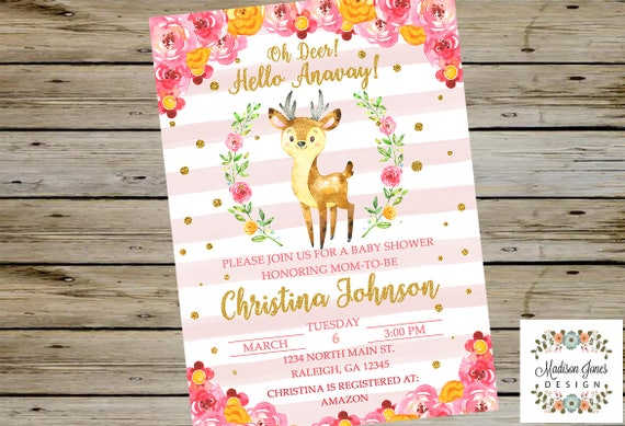 Oh Deer Baby Shower Invitation Watercolor Baby Deer Baby Etsy
