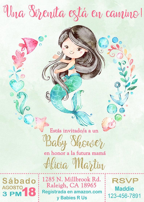 Es Nina Sirena Baby Shower Invitacion Girl Mermaid Baby Etsy